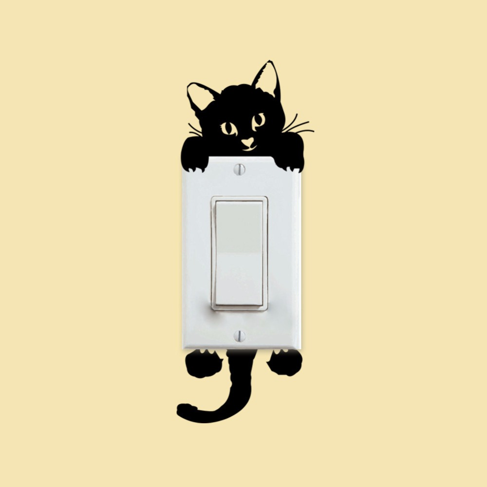 Cartoon Cute Cat Switch Wall Sticker For Kids Living Rooms Bathroom ...