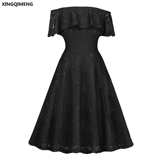 In Stock Boat Neck Little Black Dress Short Evening Dresses Lace
