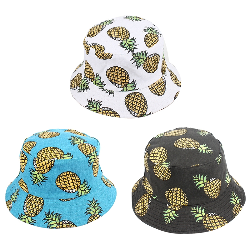 Independent Spring And Summer Fruit Pineapple Double-sided Fisherman Hat Folding Panama Hat Male Ladies Fishing Bucket Cap 3 Colors 100% High Quality Materials