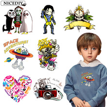 Nicediy Hippie Cool Patches For Boys Iron On Transfers Clothes Rock Applique Thermal 2019 Hot Sale DIY