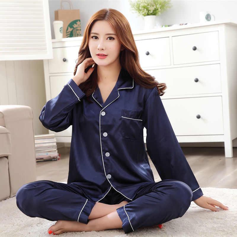 cd8c11cdc ... Satin Pajamas Set Loose Pyjamas Suit Female 2PCS Shirt&Pant Red Home  Clothes Intimate Lingerie Floral Casual ...