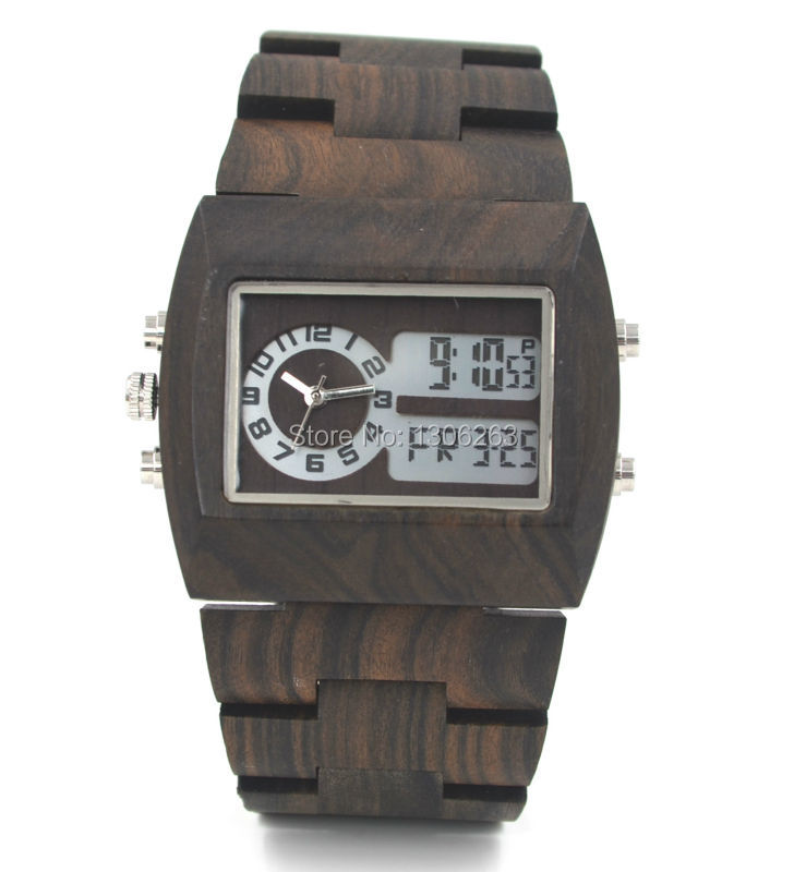Mens luxury wood watch led show analog digital wood watch men top selling bewell analog digital