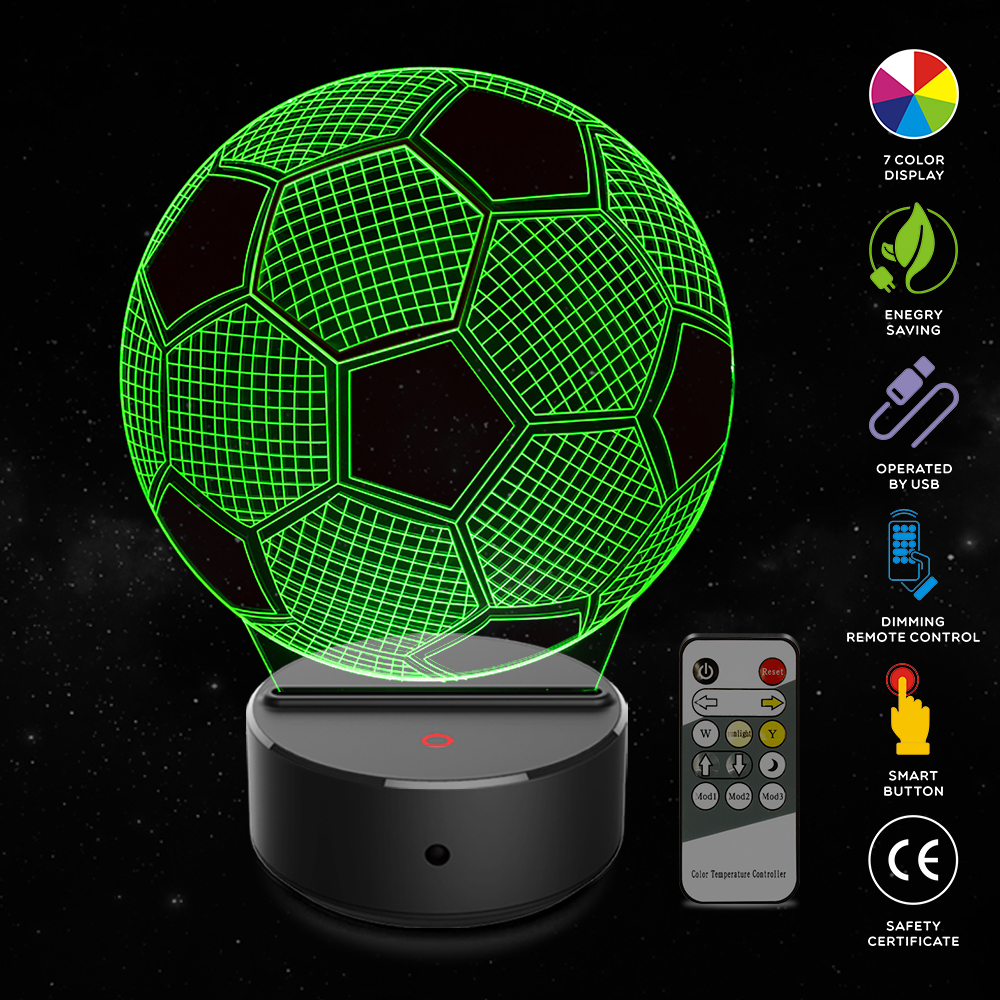 Football Shape 3D Illusion Lamp 7 Color Change Touch Switch LED Night Light Acrylic Desk lamp Atmosphere Lamp Novelty LightingFootball Shape 3D Illusion Lamp 7 Color Change Touch Switch LED Night Light Acrylic Desk lamp Atmosphere Lamp Novelty Lighting