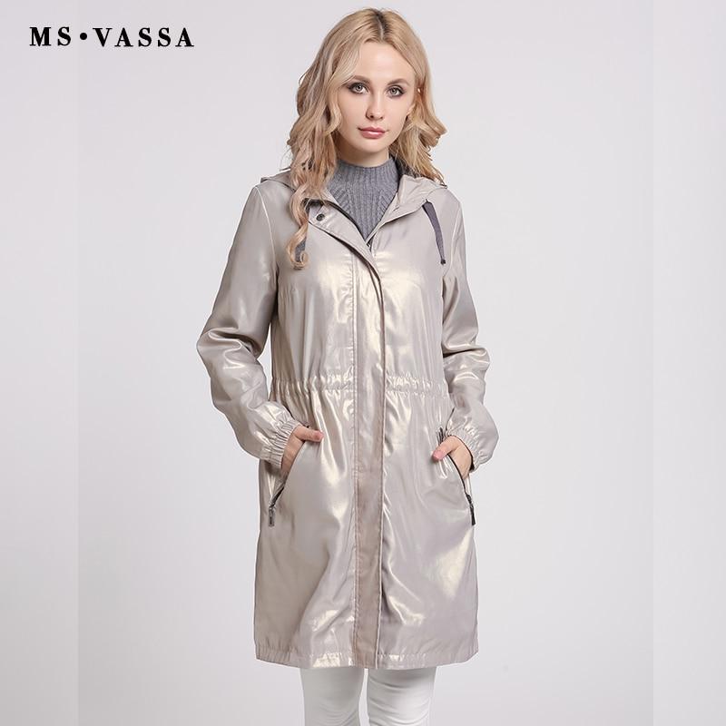 MS VASSA Для женщин Тренч Осень 2017 модные пальто с капюшоном Большие размеры 6XL ветровка регулируемый пояс дамы тонкий верхняя одежда