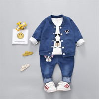 Children Denim 3 Pcs Clothes Set Printed Embroidered Puppies Spring Autumn Baby Boy Girl Clothing Set