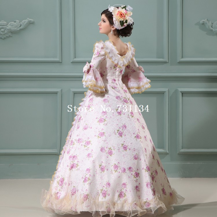 Custom Print Bow Victorian Meval Wedding Gowns Civil War Southern Belle Ball Gown Marie Antoinette Dresses In From Women S Clothing Accessories