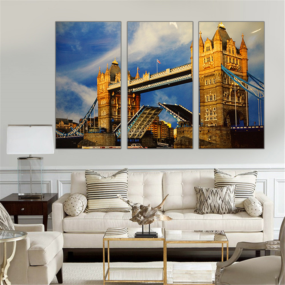 London City Canvas Painting Tower Bridge Wall Pictures For Living Room Art Cuadros Decoration Quadros No Frame 3 Pieces