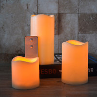 Pack of 3 Yellow Flickering Flameless Pillar Candles With Remote Control, Plastic Led Candles With Timer,Battery Included
