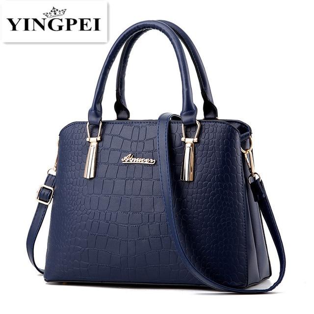Крокодил кожа PU сумка женская Крокодил pattern Женщины сумка почтальона сумочки сумки женщины известные бренды дизайнер высокое качество Черный