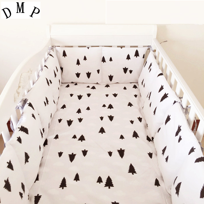 6PCS 100% Cotton Baby Girl Bedding Set,Baby Crib Bed Set Crib Bumpers (4bumpers+sheet+pillow Cover)