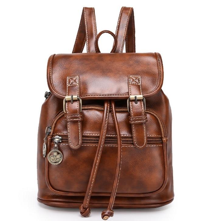 Fesyen wanita fesyen pereka jenama ransel vintaj pu beg bahu retro kecil wanita beg sekolah mochila beg comel