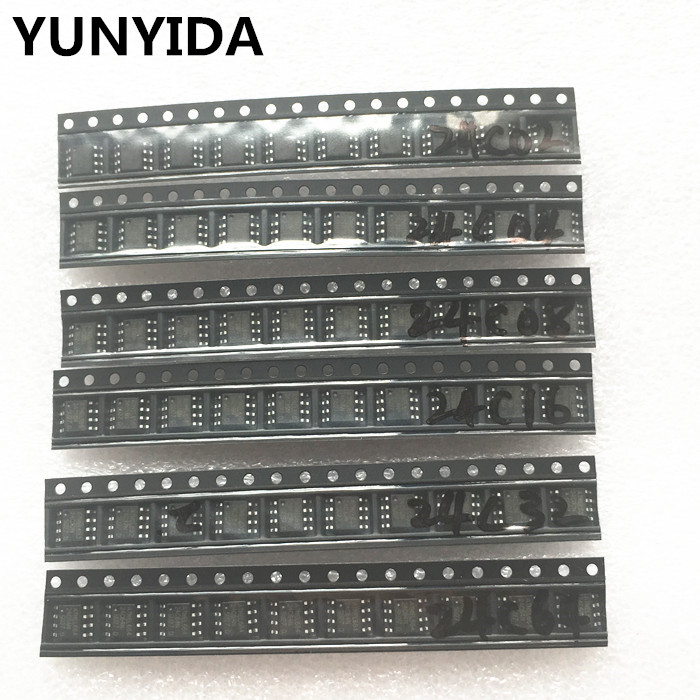 60pcs = 6 kinds * 10 pcs 24C02 24C04 24C08 24C16 24C32 24C64 sop  kit  Each 10pcs   (12-21)