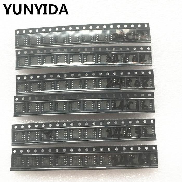 60pcs = 6 Kinds * 10 Pcs 24C02 24C04 24C08 24C16 24C32 24C64 Sop  Kit  Each 10pcs   (12-21)