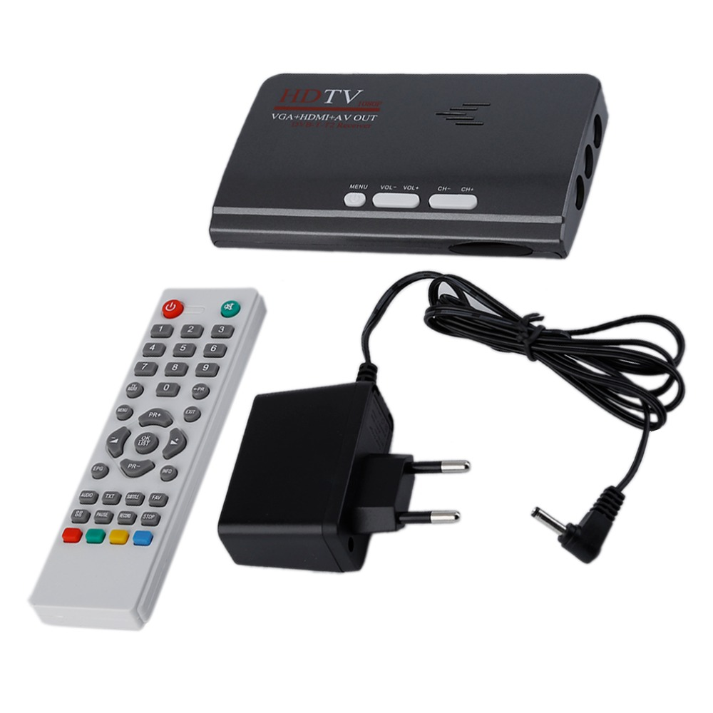 UE HDMI HD 1080 p con VGA/sin versión VGA DVB-T2 TV box AV cvbs sintonizador receptor Control remoto compatible con CRT y LCD