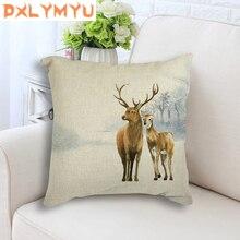 Hombre ciervo pintado cojín trasero nórdica almohada casa decoración cojín Retro venado decorativo silla de coche sofá cojines almohadas