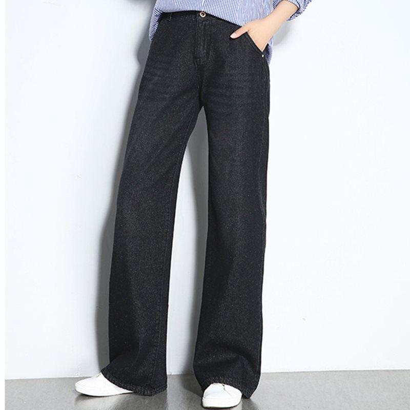 Women   Jeans   OL Casual Korean Style Plus Size Loose Denim Straight Zipper Plain Worn Washable Black Female Elegant Retro Pants