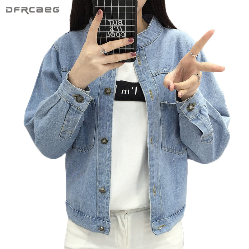 Stand Long Sleeve Denim   Jackets   2018 Spring Loose Cotton Outerwear Pockets Vintage Women Bomber Femme Casual   Basic     Jacket   Coat