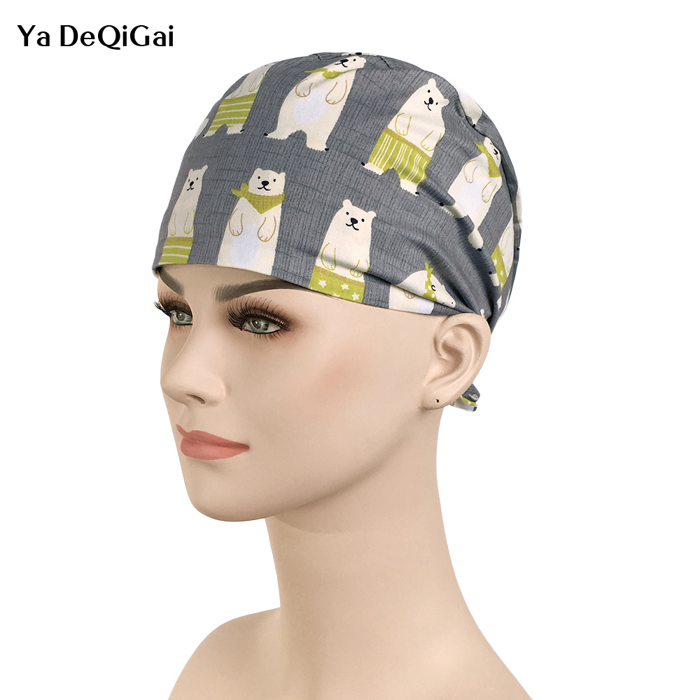 IF 2019 New Print Polar Bear Surgical Caps Elastic Flat Top Medical Cap Operating Room Doctor Nurse Work Caps Beauty Salon Hats