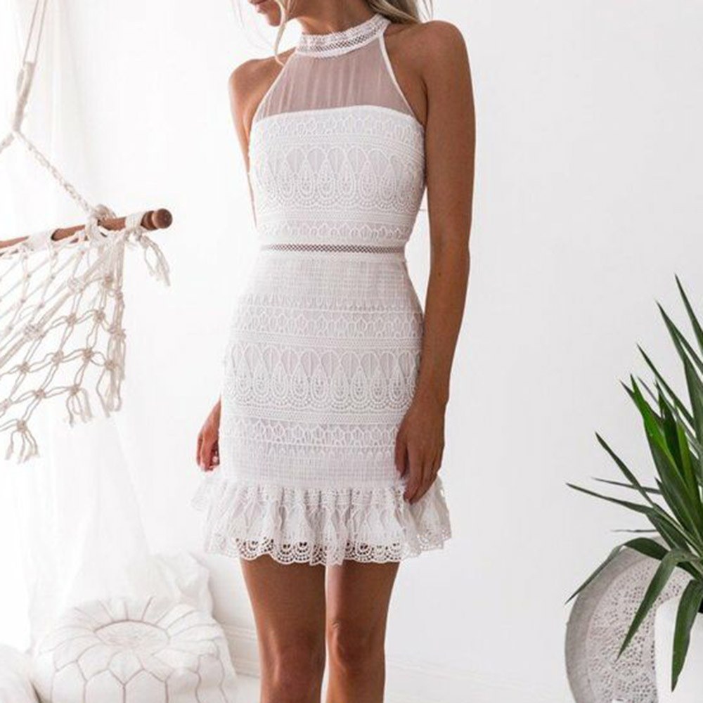 FeiTong Off shoulder ethnic summer dress women Hollow out sleeveless casual dress Female mesh sash short white dress vestidos semi formal summer dresses