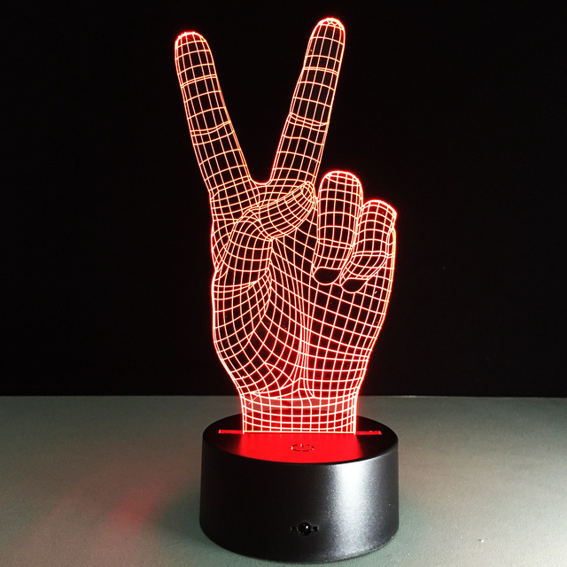 3d Led Hand Victory Light Colorful Touch Visual Lamp