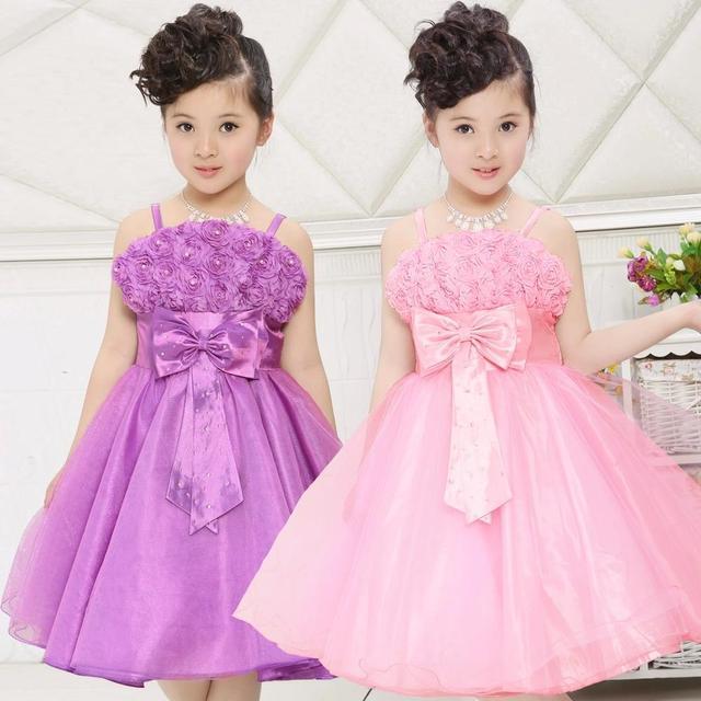 bb4d4b84ce Vestido de Festa menina Pétala de Rosa Crianças Menina Vestido de Princesa 3-12  Anos