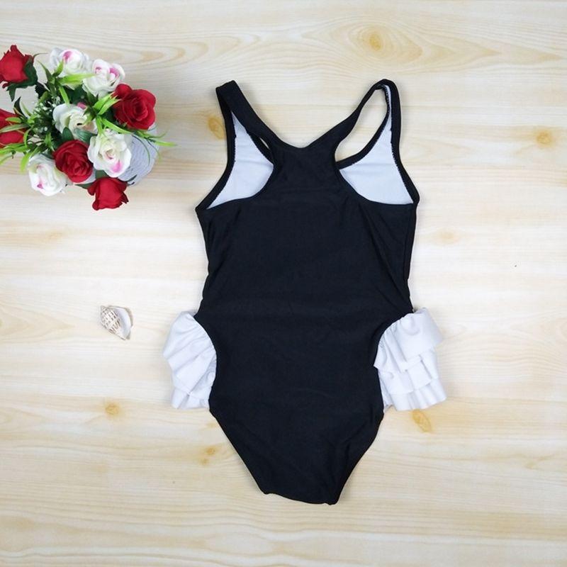 Summer Kid Girl Swan Onepiece Bikini Swimsuit Swimwear Bathing Suit+Swimming Cap