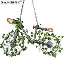 Nordic Iron Bicycle Water Pipe Lamp Edison LED Pendant Light Vintage Industrial Lighting Dining Room Hanging Lamps Home Decor цены онлайн