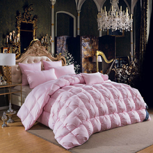 2018 Luxury Pink Thick Winter Duvet Comforters Cotton White Duck Goose Down Filler Queen King Size Stitching Quilt Blanket