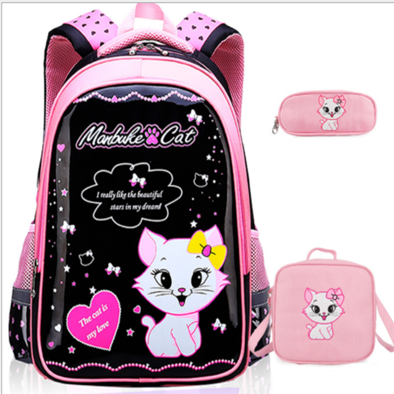 FZMBAI Cartoon School Bag Kids Bag Children Backpack Cat Printing Backpack  Satchel for Girls Mochila Escolar-in School Bags from Luggage   Bags on ... 951c427706233