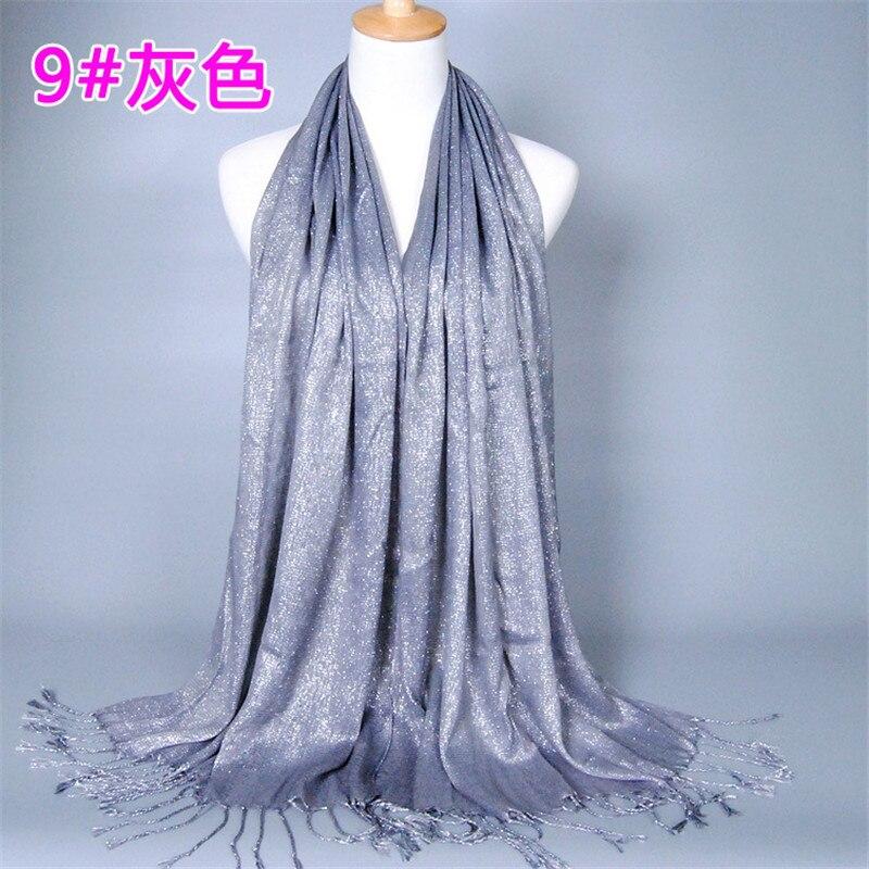 60*170cm Muslim Gold Silver Yarn Shimmer Hijab Scarf Ladies Plain Shawls And Wraps Islamic Headscarf Femme Musulman Headwrap