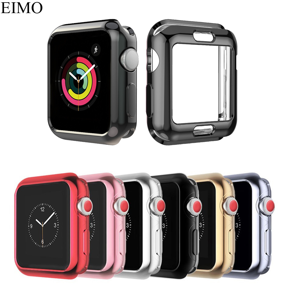 EIMO Frame protective case cover for Apple Watch band 42mm 38mm iwatch series 3/2/1 Colorful plating Cases Shell Accessories pc cover case for apple watch 3 2 1 42mm 38mm iwatch series watch case colorful plating full frame protective case armor shell