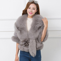 Whole skin natural fox fur with head and tail fashion fur jackets women high quality V neck short design real fur coats