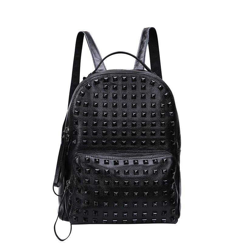 2015 New Rivet Leather backpacks for teenage girls, trendy ...