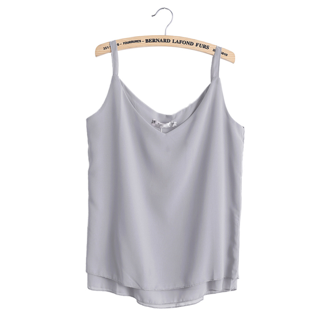 2017 New Summer Sleeveless Shirt Sexy V-neck Camis Loose Casual Chiffon Tank Tops S-4XL Vest Ladies Clothing 4