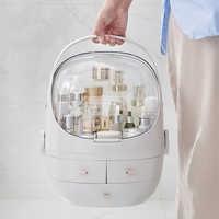 JULY'S SONG boîte de rangement de maquillage en plastique organisateur cosmétique Portable grand contenant de maquillage salle de bain mallette de rangement de bureau divers