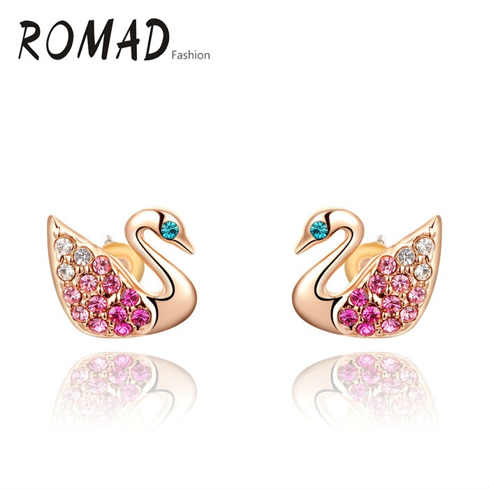 ROMAD Golden Goose Animal Stud Earrings Genuine Austrian Crystals Gold Color Fashion Women Earrings