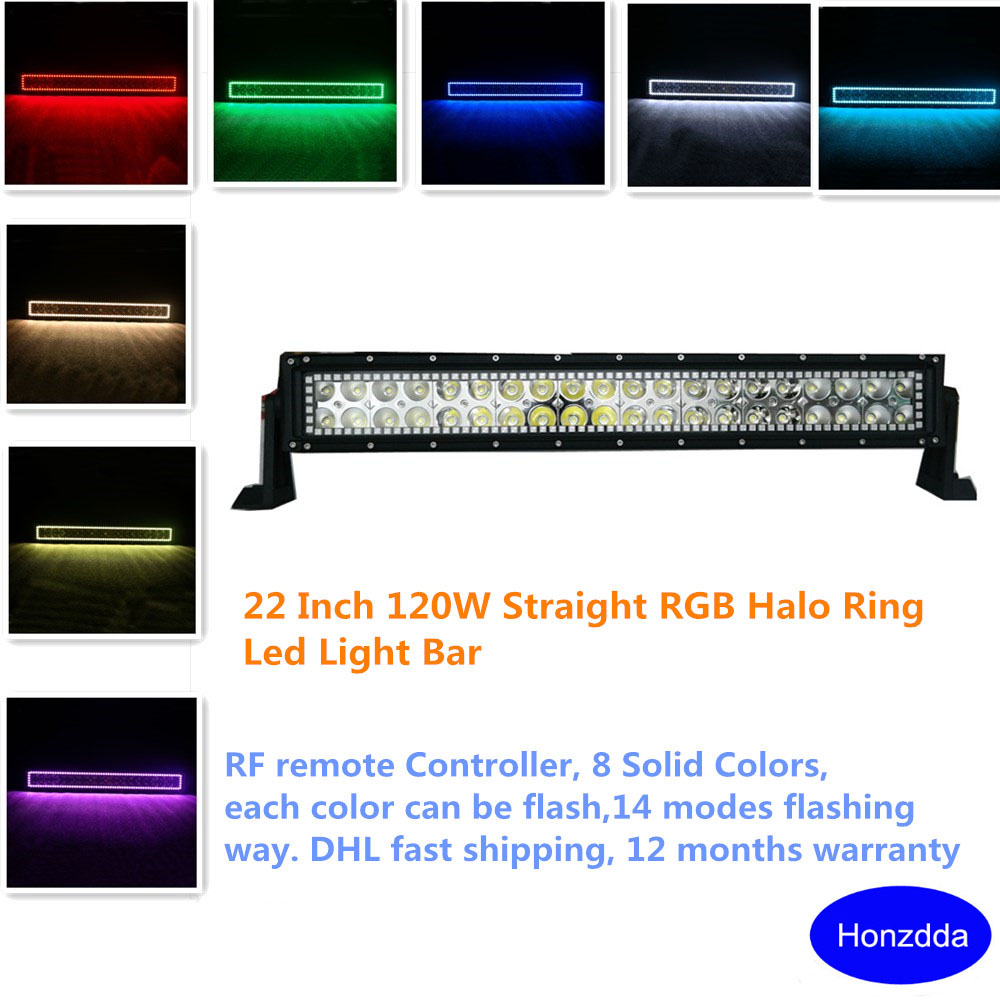 22Inch 120W Halo Led Light Bar with Halo Ring Angel Eyes 1200LM rgb Remote Control Led Bar off road 12V 24V for 4x4 SUV ATV 4 90mm rgb led lights wholesale price led halo rings 12v 10000k angel eyes rgb led angel eyes for byd for chery for golf4
