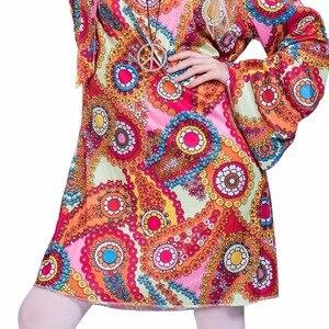 Image 5 - 2017 Flower Printed Long Sleeve Boho Dresses Hippie Dress With Headband Adult Halloween Cosplay Plus Size Halloween Costumes