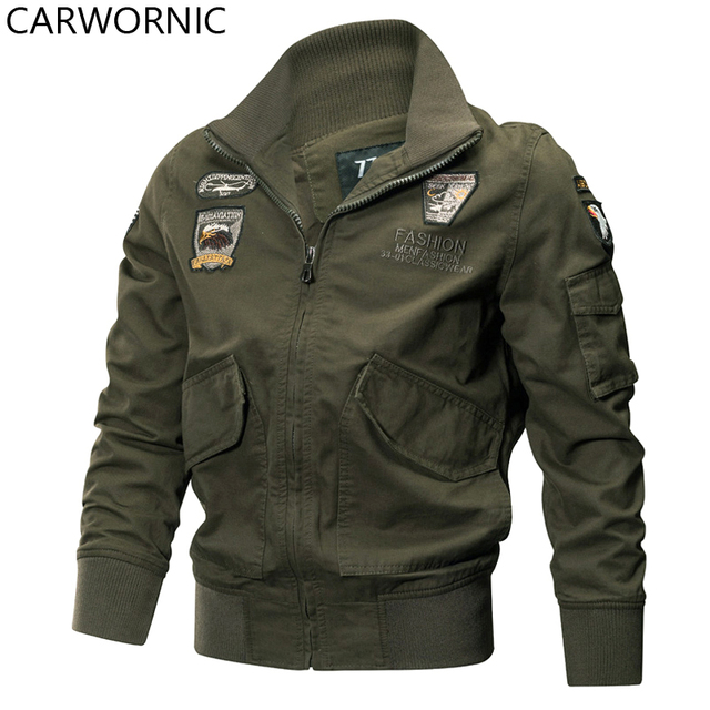 CARWORNIC Men Military Jackets Autumn Winter Cotton Tactical Jackets Casual Outerwear Clothes US Air Force Pilot Coat Eagle Tag