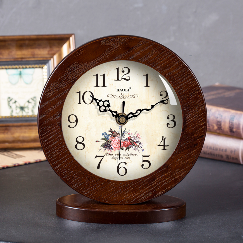 Américain simple en bois massif horloge horloge muet moderne chambre européenne créative assis horloge pendule horloge WF5071955