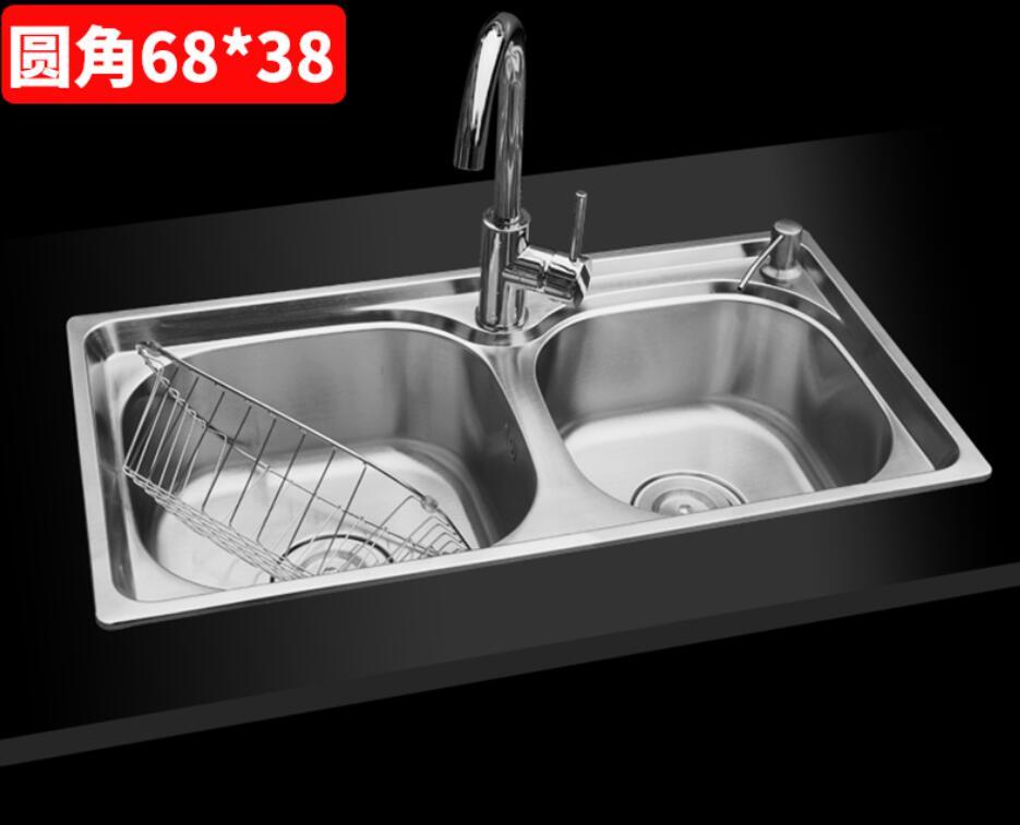 Évier en acier inoxydable petit appartement évier Double rainure épaissir cuisine lavabo lavabo 68*38 LU4255