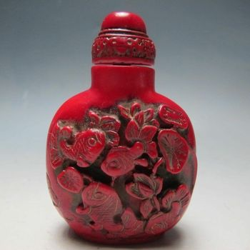 Collection Chinese Beautiful Turquoise Goldfish Fish Lotus Flower Lotus Leaf Snuff Bottle Small Home Ornaments Bottle