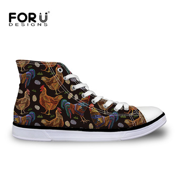 FORUDESIGNS Men's Vulcanize Shoes Chicken Print High Top Canvas Shoes for Teenager Boys Lace-up Flat Shoes Male Footwear Rubber