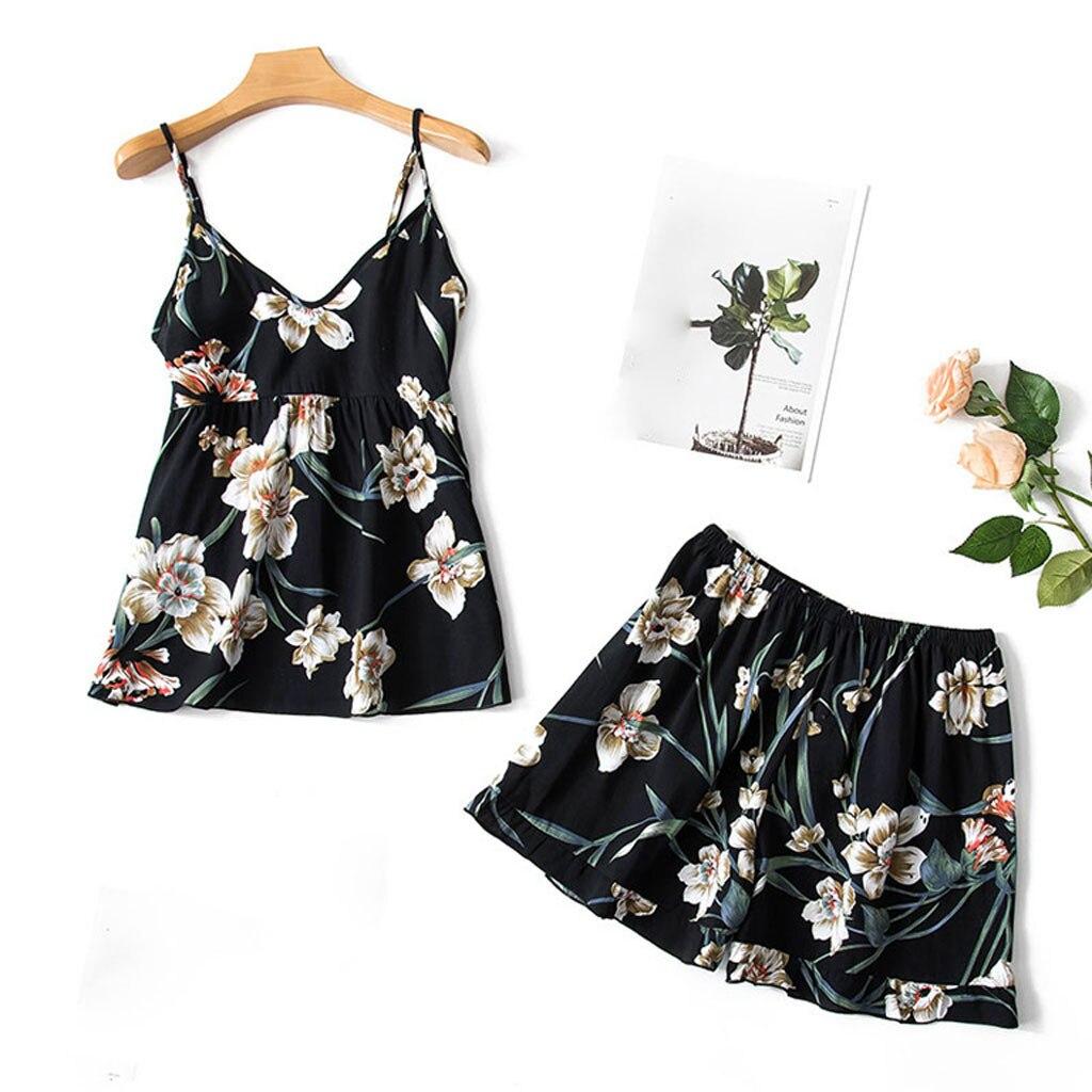 Women'S Sleepwear Sexy Stain Pajama Set Sleeveless Lingerie Print Nightwear Underwear Cami Top And Shorts Woman Pajamas Summer