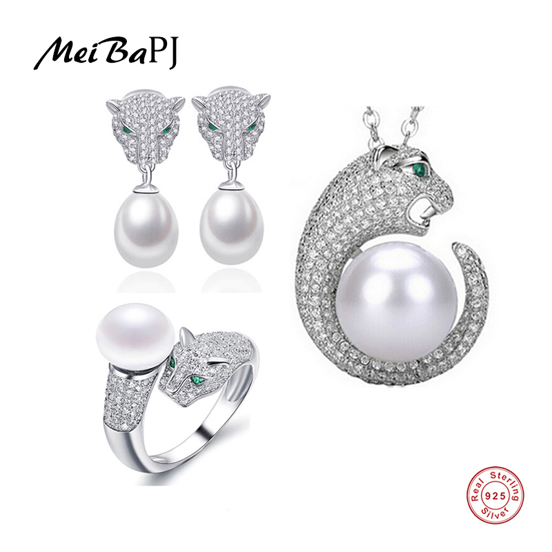 MeiBaPJ 925 Sterling Silver 3 Items Pearl Leopard Necklace Earrings Bracelet Ring Natural Pearl Jewelry Set For Women TZ-087Y a suit of gorgeous rhinestoned flower necklace bracelet earrings and ring for women