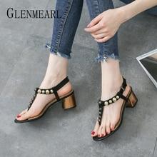 Summer Shoes Flip Flops Women Sandals Thick Heels Fashion Rivets Party Brand Buckle Strap Gladiator Female New DE