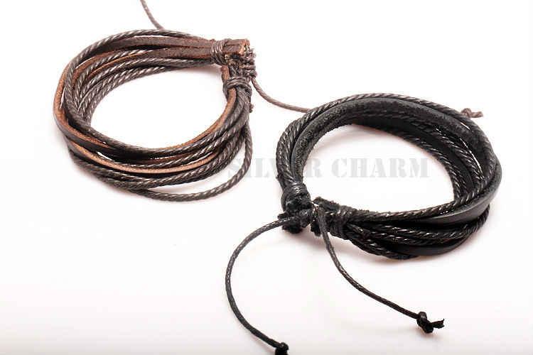 Gorąca skórzana bransoletki i bransolety dla mężczyzn i kobiet czarny i brązowy pleciona lina moda mężczyzna biżuteria 2 sztuk PI0246