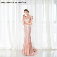 Luxury 2018 Rose Gold Sequins Bridesmaid Dresses For Women Mermaid Short Sleeve Open Back Maid Of