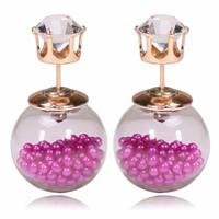 New-Design-Stud-Earrings-Jewelry-Earrings-Double-Side-Glass-Ball-Crown-Stud-Earrings-Candy-Color-Zircon