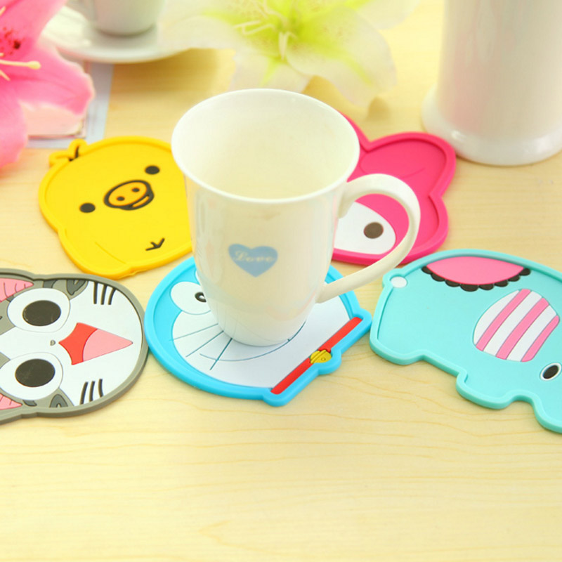 Hippo Home Cute Cartoon Animal Silicone Anti Slip Heat Insulation Cup Mat Coffee Placemat Coasters Tableware